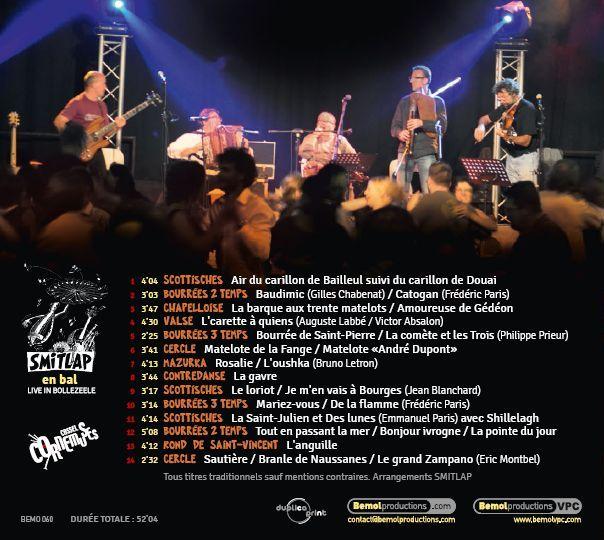 Dos du CD de Smitlap : les 14 titres de Smitlap en bal, live in Bollezeele